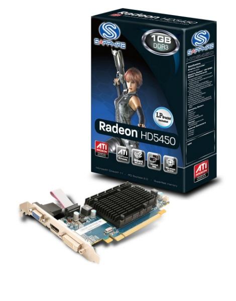 Placa Video Sapphire 1024 Mb; Gddr3; 64 Bit; Pci-e 16x; Amd Radeon Hd 5450; Vga; Dvi; Hdmi