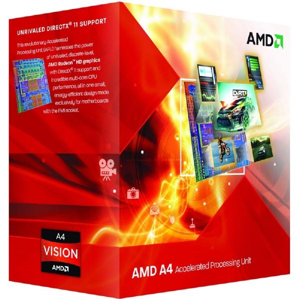 Cpu Amd Skt Fm2 A4 X2 4000 3.00/3.20ghz  1mb Cache  65w  Box ad4000okhlbox