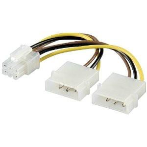 Cablu PC; mufa PCI-E 6 pini la mufa 5.25 M; mufa 5.25 M; 0.1m
