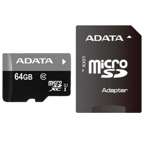 "SECURE DIGITAL CARD MICRO SDXC 64GB (Class 10) + adaptor SD ADATA ""AUSDX64GUICL10-RA1"""