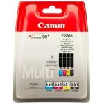 Cartus cerneala Original Canon CLI-551MULTI Color, compatibil IP7250/MG5450/MG6350, 4 x 7 ml (BS6509B009AA)