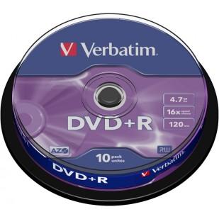 BLANK  DVD+R Verbatim  SL 16X 4.7GB  10PK SPINDLE MATT SILVER (43498)