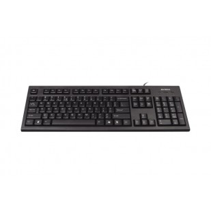 Tastatura USB A4TECH Comfort Round black (KR-85-USB), wired cu 104 taste cu margini rotunjite si inscriptionate laser