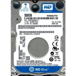 "HDD  Notebook 2.5""  500GB 5400rpm 16M SATA3 WD  (WD5000LPCX)"