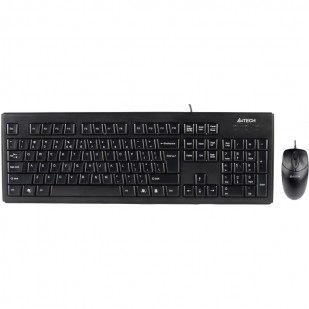 Kit tastatura+mouse USB A4TECH, black (KRS-8372-USB), tastatura wired cu 104 taste si mouse wired cu 3 butoane si 1 rotita scroll, rezolutie sub 1000dpi