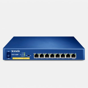 PoE (Power Over Ethernet) Switch  8 Porturi 10/100M (8 porturi PoE), carcasa metal TENDA (TEF1108P)