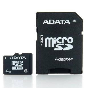 Secure Digital Card micro SDHC 4GB class4 ADATA, adaptor SD (AUSDH4GCL4-RA1)