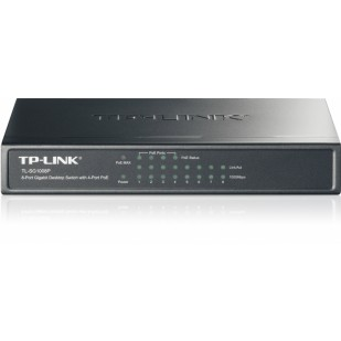 Switch 8 Porturi PoE (Power Over Ethernet) 10/100Mbps (4 porturi PoE). Gigabit, carcasa metal, TP-LINK TL-SG1008P
