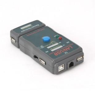 Tester cablu de retea RJ-45 UTP/STP si USB, 3 butoane (Auto, Power si Test) si 3 ecrane de identificare, compatibil: cabluri suportate: STP/UTP, USB (A/A), USB (A/B), RJ11, TJ12, Gri, Gembird (NCT-2)