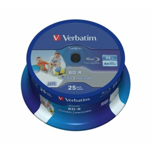 BD-R Verbatim SL DATALIFE 6X 25GB 25PK SPINDLE WIDE PRINTABLE NO ID (43811)