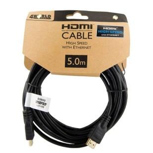 Cablu PC; 4WORLD; HDMI M la HDMI M; 5m; 08606