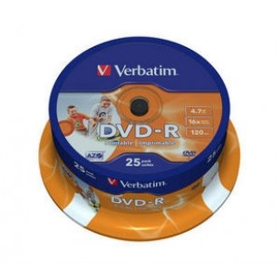 DVD-R Verbatim  SL 16X 4.7GB  25PK SPINDLE WIDE INKJET PRINTABLE ID BRANDED (43538)