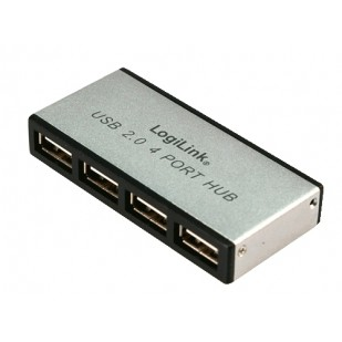 HUB USB extern, conectori iesire: 4x USB 2.0 si intrare: 1x USB 2.0, alimentator priza inclus, Aluminiu, LOGILINK (UA0003)