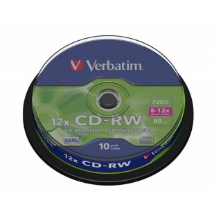 CD-RW Verbatim DATALIFE PLUS 8-12X 700MB 10PK SPINDLE (43480)