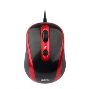 Mouse Optic USB A4TECH V-Track (N-250X-2), Black/Red, wired cu 3 butoane si 1 rotita scroll, rezolutie 1000-2000dpi si cablu 60cm