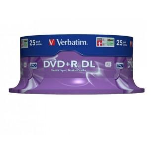 DVD+R Verbatim DL 8X 8.5GB 25PK SPINDLE MATT SILVER (43757)