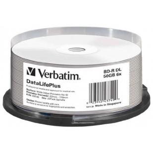 BLANK BD-R Verbatim DL DATALIFE 6X 50GB 25PK SPINDLE WIDE PRINTABLE NO ID SURFACE HARD COAT (43749)
