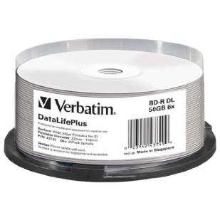 BLANK BD-R Verbatim DL DATALIFE 6X 50GB 25PK SPINDLE WIDE PRINTABLE NO ID SURFACE HARD COAT (43749)