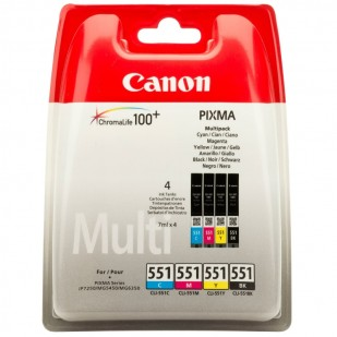 Cartus cerneala Original Canon CLI-551MULTI Color, compatibil IP7250/MG5450/MG6350, 4 x 7 ml (BS6509B009AA)