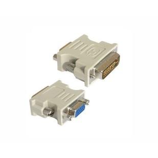 Adaptor video DVI-A tata la S-VGA mama, fixare cu suruburi, carcasa solida din plastic, bulk, Alb, GEMBIRD (A-DVI-VGA)
