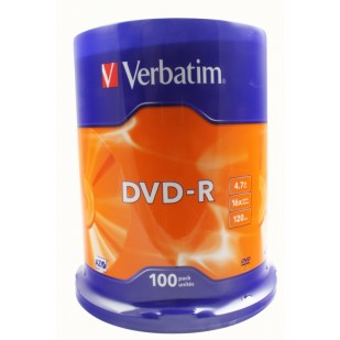 DVD-R Verbatim SL 16X 4.7GB 100PK SPINDLE MATT SILVER (43549)