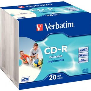 CD-R Verbatim AZO 52X 700MB 20PK SC WIDE INKJET PRINTABLE ID BRANDED (43424)