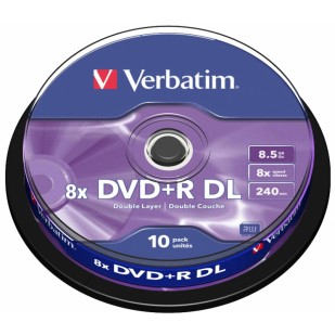 DVD+R Verbatim DL 8X 8.5GB 10PK SPINDLE MATT SILVER (43666)