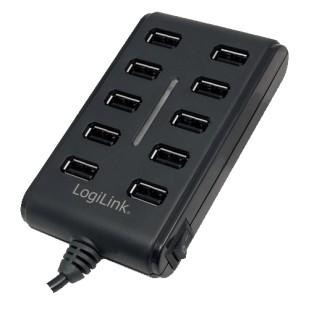 HUB USB extern, conectori iesire: 10x USB 2.0 si intrare: 1x USB 2.0, buton ON/OFF si alimentator priza inclus, Negru, LOGILINK (UA0125)