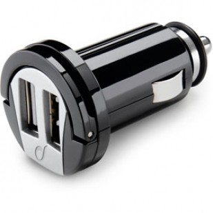 Incarcator auto cu doua mufe USB, negru, Cellular line (MICROCBRUSBDUAL2A)