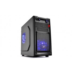 "CARCASA DEEPCOOL  mATX Mini-Tower, 2* 120mm BLUE LED fan (incluse), front audio & 1x USB 3.0, 1x USB 2.0, black ""SMARTER LED"""