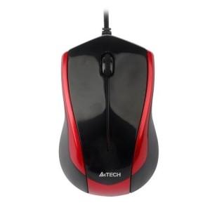 Mouse Optic USB A4TECH V-Track (N-400-2), wired cu 3 butoane si 1 rotita scroll, rezolutie 1000-2000dpi si cablu 150cm, Negru-rosu