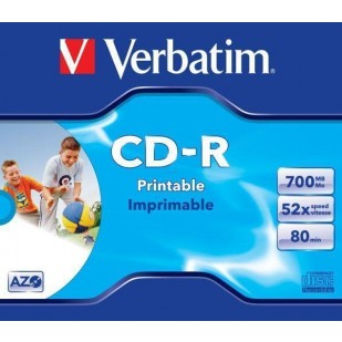 CD-R Verbatim AZO 52X 700MB JC WIDE INKJET PRINTABLE ID BRANDED (43325)