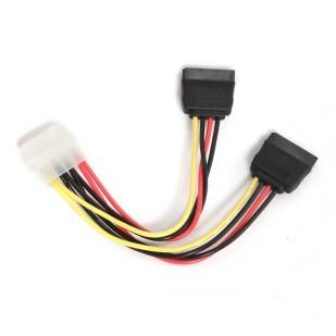 """Cablu Alimentare 1 x 5.25"""" Molex mama la 2 x SATA 30cm GEMBIRD (CC-SATA-PSY-0.3M)"""