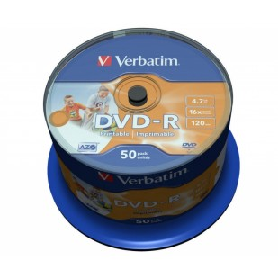 DVD-R Verbatim SL 16X 4.7GB 50PK SPINDLE WIDE INKJET PRINTABLE NO ID (43533)