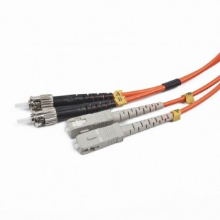 Cablu Fibra Optica, conectori ST-SC, lungime cablu: 1m, duplex multimode, bulk, Portocaliu-negru-gri, GEMBIRD (CFO-STSC-OM2-1M)