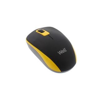 Mouse wireless Well model MW102, Negru/Galben