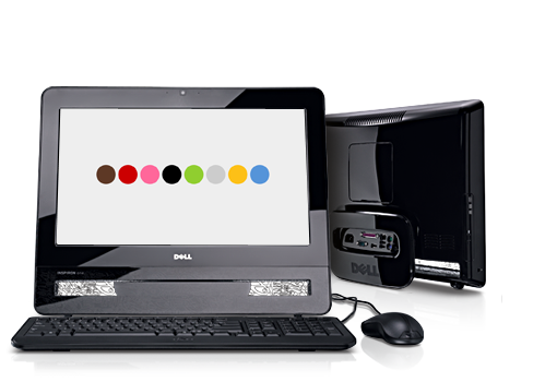 Dell Inspiron One 19T, front view and back view