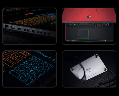 3 imagini cu Alienware, vedere de sus, imagine capac, imagine tastatura