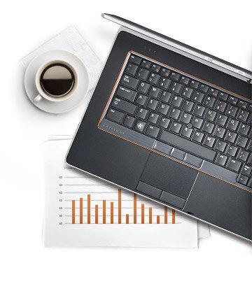 Laptop E6520, cana cu cafea, grafice