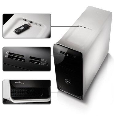 4 imagini Dell XPS 8100, carcasa deasupra, carcasa jos, porturi